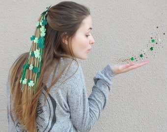 St. Patricks Day party shamrock hair confetti, hair garland, barrette or comb, head piece, hair accessory, costume accessory, green clover