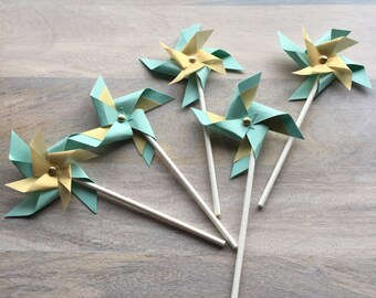Mint and Gold Pinwheel Cupcake Toppers