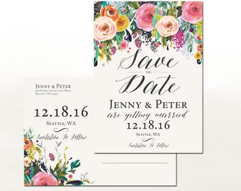Floral Save the Date Printable /  Wedding Save the Date Post Card (Printing Service Sold Separately) No.1111WEDDING