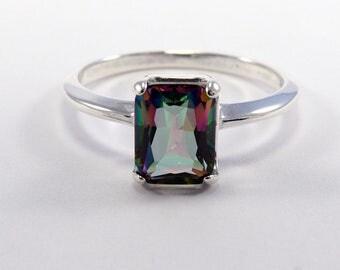 Mystic quartz ring, rainbow quartz ring -  mystic ring - rainbow quartz - quartz ring 8x6 mm size 3 4 5 6 7 8 9 10 11 12 13 sterling silver