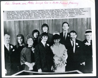 Vintage Associated Press Wire Photo of The Beatles Ringo Starr on his Wedding Day Rare Find Beatles Memorabilia