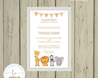 SAFARI ANIMALS Personalised Printed Christening Baptism Baby Shower Invitations With Envelopes Various Pack Sizes