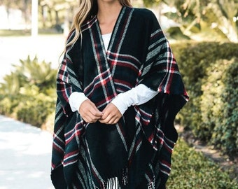 Going Plaid - Poncho, plaid poncho,  boho poncho, womens poncho, bohemian poncho, womens wrap, hippie poncho, womens cape, shawl