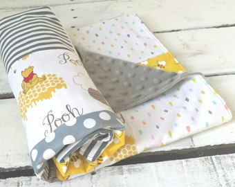 Winnie the Pooh Baby Bedding, Baby Blanket, Gender Neutral Baby Blanket, Hunny Pot, Bumble Bee Blanket, Yellow and Gray, Baby Shower Gift