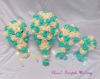 Artificial Wedding Flowers Brides, Bridesmaid, Flower Girl Teardrop Bouquet in Aquamarine/Tiffany Blue Foam Roses with diamante