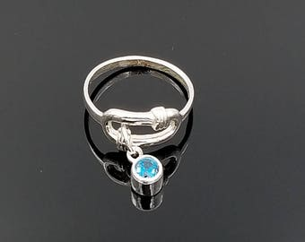 Silver birthstone charm ring, dangle ring, stacking ring, birthstone ring, boho ring, rings for women, gift for her