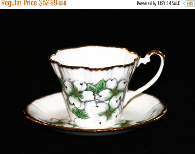 Storewide 25% Off SALE Vintage American White Dogwood Jonroth Designer Signed Fine Porcelain Teacup & Matching Saucer Featuring Hand Painted