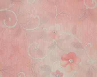 Vintage Japanese Silk Kimono Fabric Pretty Blossom