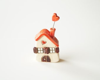 Little Ceramic Love house, Miniature house, Little rustic house, Red house, Ceramic house