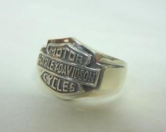 Vintage Estate .925 Sterling Silver Harley Davidson Motorcycle Ring 15.1g #E3154