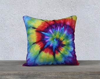 Outdoor Tie Dye Throw Pillow-Rainbow Spiral -Weather-resistent-UV coating-Square Rectangle-14x20, 16x16, 18x18, 20x20