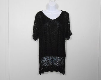 Vintage 1980s Double Layer Black Lace Beaded Blouse // Medium // 80s Valley Girl Hipster Goth Top