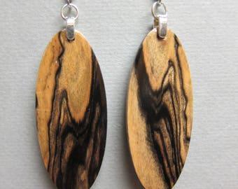 Ebony, Black & White  Exotic Wood repurposed ecofriendly Handcrafted ExoticWoodJewelrynd