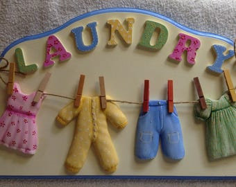 Laundry Sign with Clothes 40cm x 24.5cm