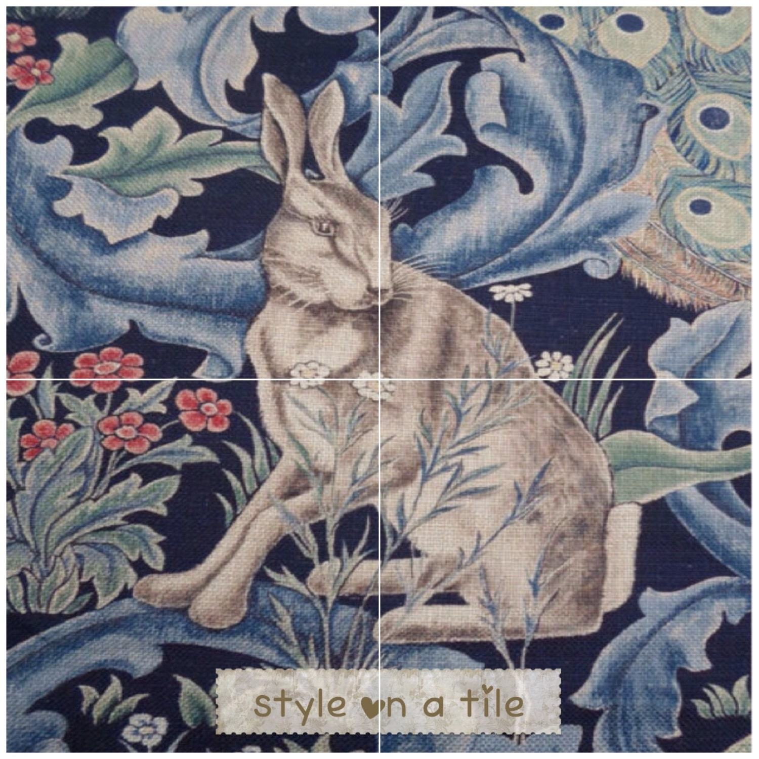 Lovely arts and crafts william morris forest rabbit hare bunny lovely arts and crafts william morris forest rabbit hare bunny indigo design 4 x 6 or 152mm ceramic tile mural mosaic wall art splash back doublecrazyfo Images