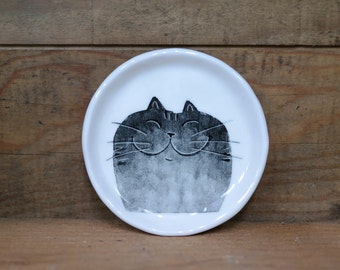 Hand made & animal painted  Versatile dish - Soap Dish - Jewelry  plate - Ceramic saucer - Cute serving - Black gradation Cat dish