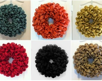 Burlap Wreath ~ Your Choice of Color!