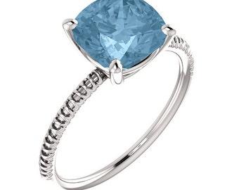 Sky Blue Topaz Ring: 14K White, Yellow, Or Rose Gold