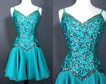 80's Prom Dress.....80's Teal Sequined Skater Length Prom Dress Party Dress