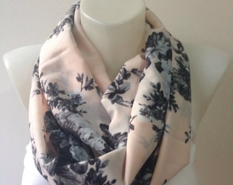 Fabric Scarf in Powder Pink with Black Rose, Mother's day Gifts, Scarf,Women Scarf,