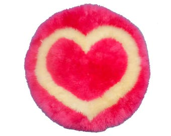 Heart Shaped Sheepskin Rug Pink