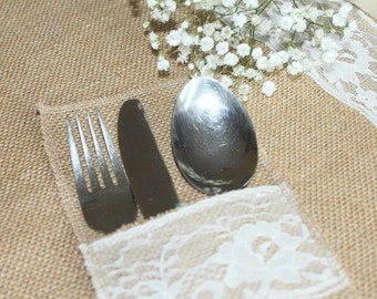 burlap and lace silverware holder cutlery holder decor rustic weddings