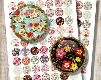Round Jewelry Images, Printable Floral Pattern, Digital Collage Sheet, 1 inch 20 mm 25 mm Circles for Pendants, Instant Digital Download g2