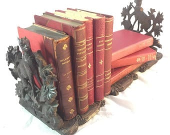 Antique Black Forest Book Slide With Carved Mountain Goats