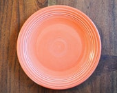 """Fiestaware Persimmon Rare Charger or Large Dinner Plate 12"""", circa 1980s, Homer Laughlin HLC coral red orange plate"""