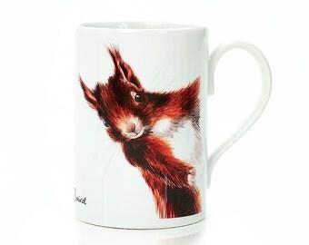 Red Squirrel Porcelain Mug - Wildlife Mug - Animal Mug - Woodland Squirrel Mug - Home Decor - House warming Gift