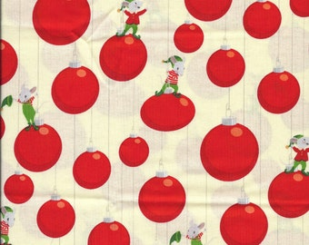 New Christmas Mice and Ornament Bulbs 100% cotton fabric by the Fat Quarter