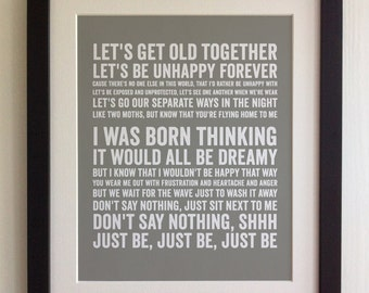 FRAMED Lyrics Print - Paloma Faith, Just Be - 20 Colours options, Black/White Frame, Wedding, Anniversary, Valentine's, Fab Picture Gift