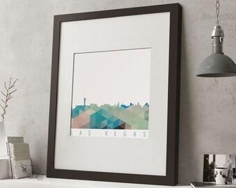 """FRAMED Geometric Las Vegas Print, 12""""x10"""" Black or White Frame, Modern Art"""