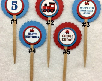Set Of 12 Personalized Train Choo Choo 5th Birthday Party  Cupcake Toppers (Your Choice Of Any 12)