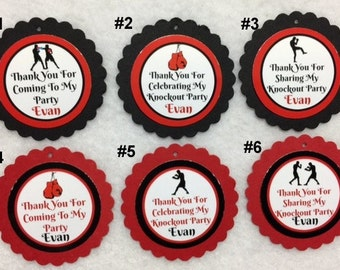Set of 12 Personalized Boxing Birthday Party 2 Inch Favor & Gift Tags With Ribbon Or Twine