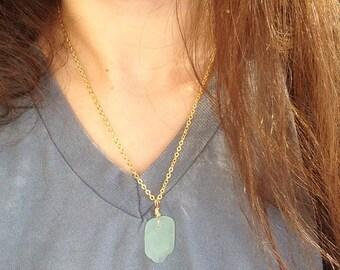 Small green sea glass necklace - 19 inch chain