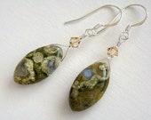 Rain Forest Earrings, Green Rhyolite Drop Earrings, Rhyolite Crystal Earrings, Rain Forest Jasper Earrings, Green Jasper Silver Earrings
