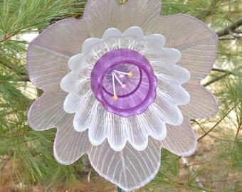 Pink Purple Flower, Cottage Garden, OOAK Flower, w/ Handcrafted Welded Stem, OOAK Gift for Her, Spring Flower Gift, Upcycled Home Decor