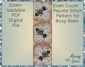 Busy Bees Peyote Pattern, Even Count Peyote Seed Bead Pattern
