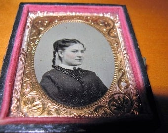 Vintage Tintype 1/9 Plate Lovely Young Woman, Antique Photograph, 1870's- 1880's era, Name of subject written on the back