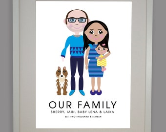 Family Portrait (A4 Digital File), Personalised Family Portrait, Cute Family Portrait, Quirky Family Portrait, New Baby Family Portrait