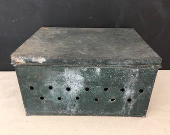 Awesome Metal Storage Box   Vintage Metal Box   Industrial Crate   Metal Crate    Metal Box