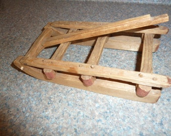 Antique Miniature Primitive Pegged Sled Saleman Sample Size - For Doll or Decor