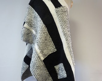 Winter sale. Exceptional patchwork felted shawl. Only one sample. Perfect for gift.