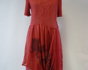 Feminine coral linen dress, XL size.