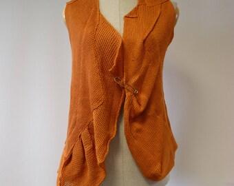 Special price, orange linen vest, M size.