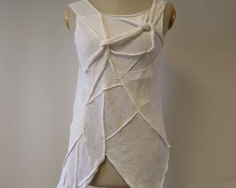 Summer asymmetrical white linen top, M size.