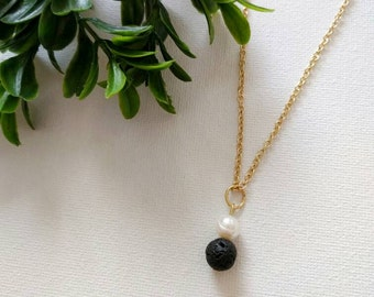 Gold Filled Lava rock and Pearl Diffuser Necklace, Diffuser Necklace, Lava Rock Necklace, Essential Oil Necklace, Oil Diffuser, Oil Necklace