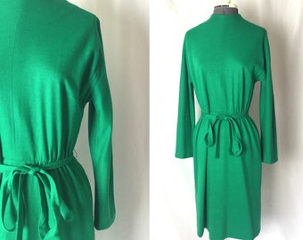 Medium/large ** 1960s GREEN WOOL long sleeve belted day dress ** vintage sixties kelly green dress