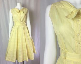 Small/medium ** 1950s PALE YELLOW striped cotton semisheer skirt and sleeveless blouse set ** vintage fifties rockabilly outfit
